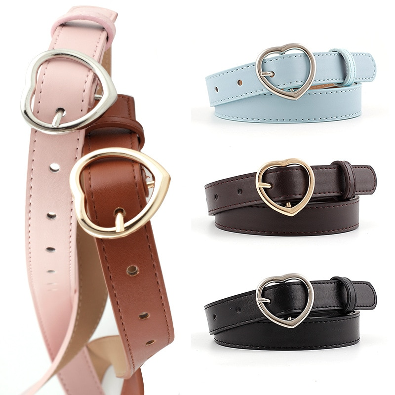 Q Fashion Belts Decorative Accessories Thin Belt for Ladies Punk Style Heart-shaped PU 1Pcs Gold/Sil