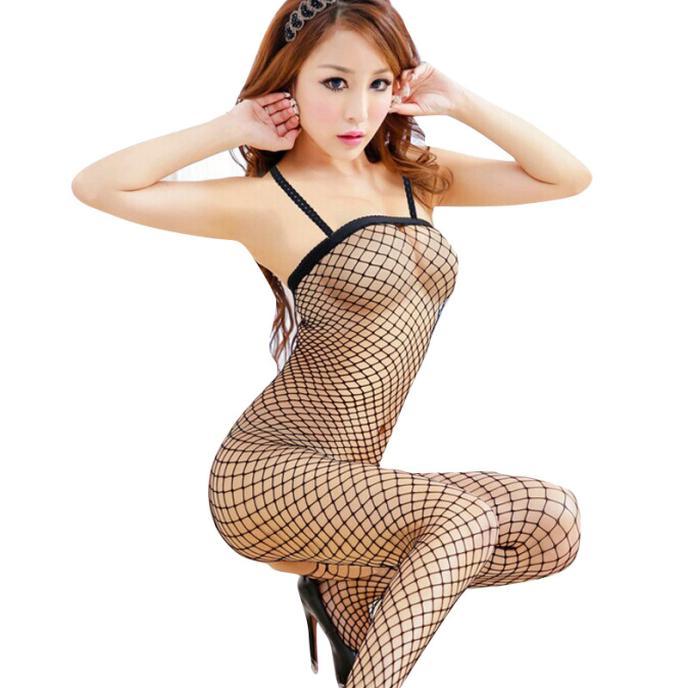 HOT Sexy Lingerie Women Sexy Straped Fishnet Bodysuit Open Crotch Bodystocking Babydolls Chemises Crotchless Sexy Underwear