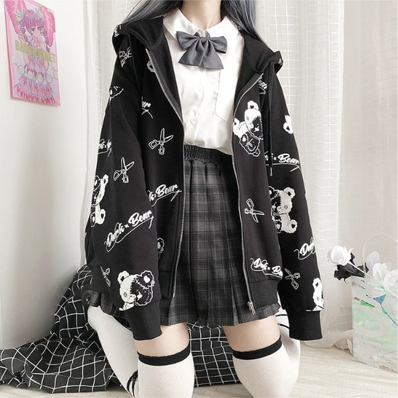 Gothic Coat Sweatshirt Women Fashion Spring Autumn 2021 Plus Clothes Ins Preppy Kawaii Hoodies Long