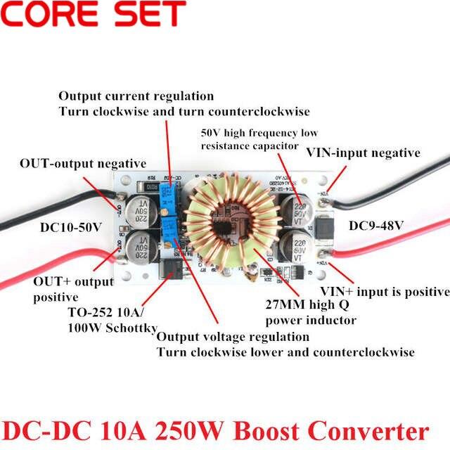 DC-DC 10A 250W convertidor de aumento módulo de fuente de alimentación Módulo de corriente constante ajustable Controlador Led de energía móvil para Arduino