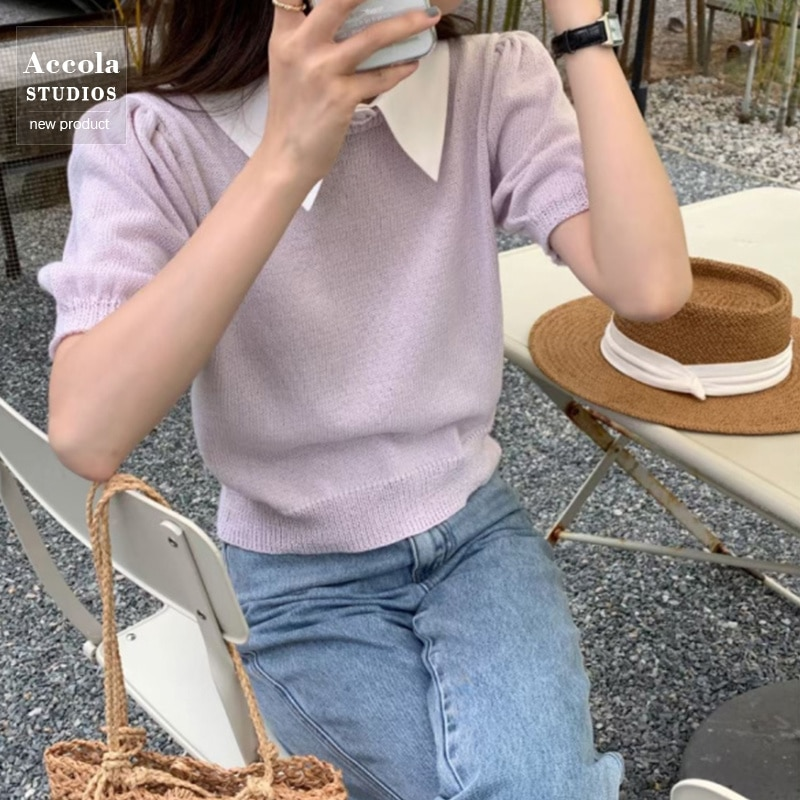 Summer Short Sleeve T-shirt Design Sense Bubble Sleeve Ice Silk Sweater Small Man French Gentle Thin