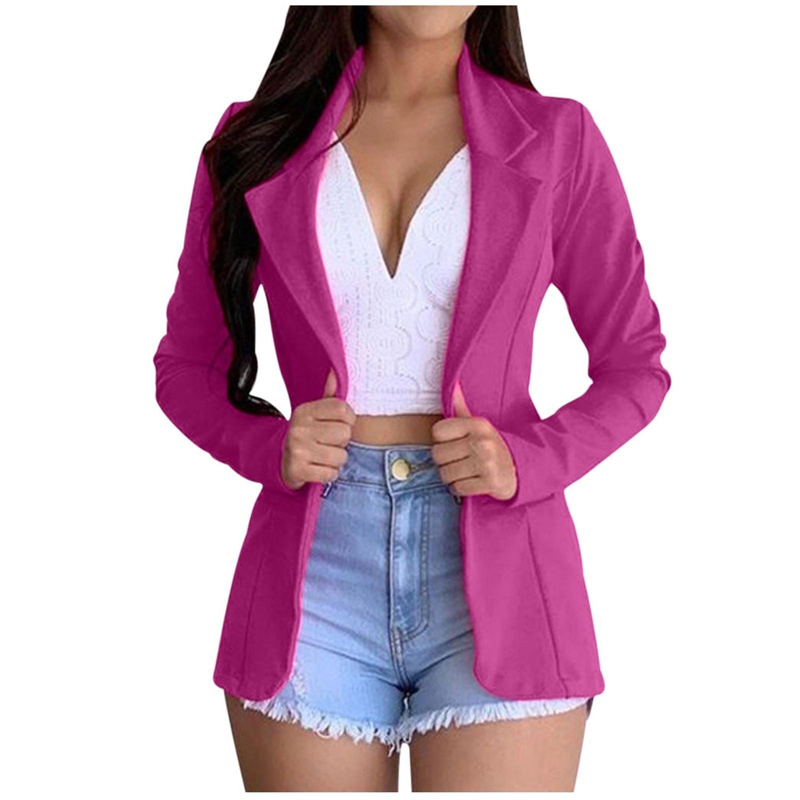 New Women Autumn Blazer Jacket Fashion Basic Blazer Casual Solid Button Long Sleeve Work Suit Coat O