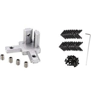 Big deal 20x 2020 Series 3 - Way End Corner Bracket Connector & 20Pcs Black T Slot L-Shaped Angle Slot Connector Joint Bracket