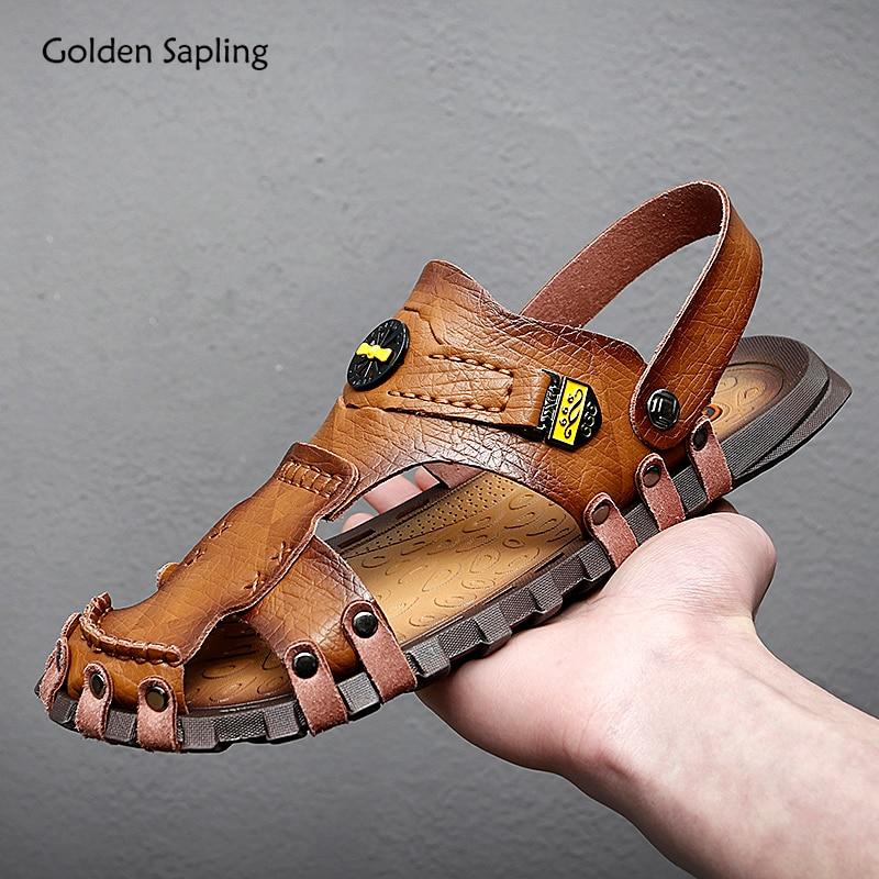 الذهبي سابلينج المصارع صنادل رجالية موضة روما نمط أحذية الشاطئ الكلاسيكية في الهواء الطلق المشي الترفيه الصنادل الرجال حذاء كاجوال