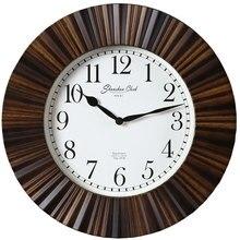 Vintage Circular Wall Clock Wood  Minimalist Silent Quartz Wall Clock  Relogios De Parede Living Room Art Decor New Hot SS60WC