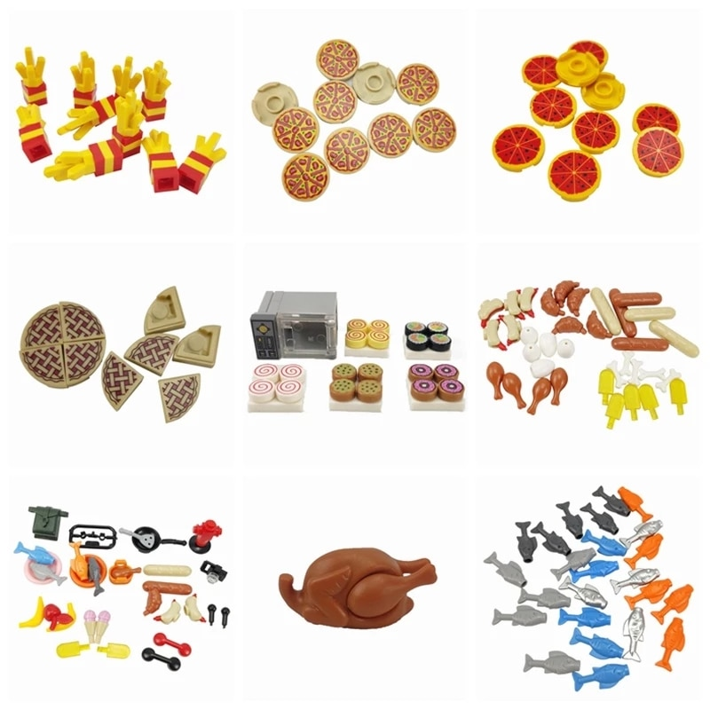 Classic Food Assemble MOC French fries Pizza Bread Fish Models Building Blocks DIY Toys for Children Brick Birthday Gift