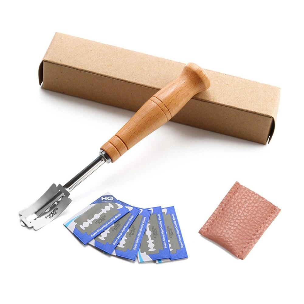 Herramienta de corte de pan, herramienta de corte de masa de pan, herramientas de corte de cuchilla, navaja curva de corte de afeitar, protector de cuero #15 #2