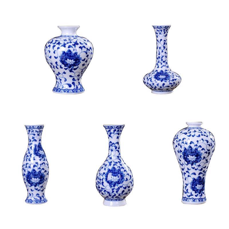 Jarrones de cerámica porcelana azul y blanca tradicional china para flores un patrón