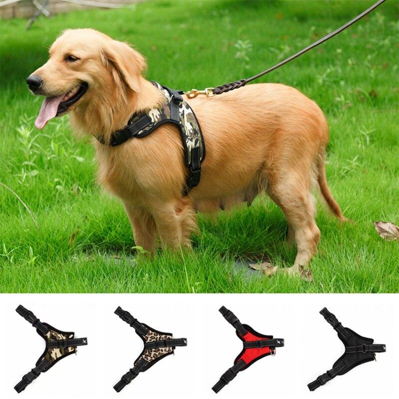 Pies miękka regulowana uprząż Pet duży pies wyjdź uprząż smycze dla psów kamizelka z kołnierzem i pasek na rękę dla małych średnich duży pies s