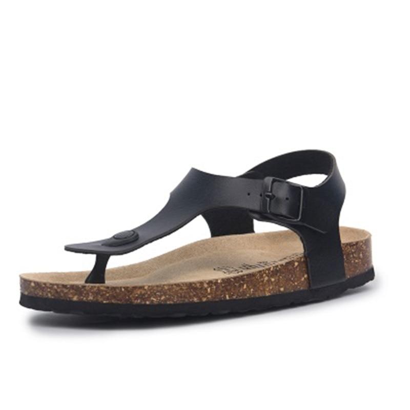 AliExpress - Newest Fashion Cork Sandals 2020 New Men Summer Buckle Strap Solid Beach Slipper Flip Flops Sandals Shoe Flat black white red 45
