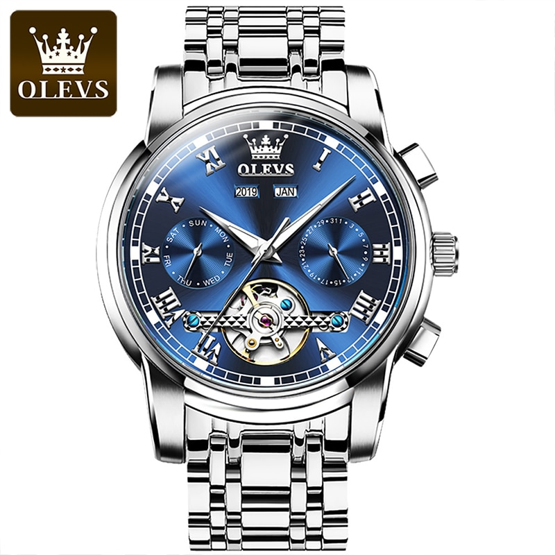 OLEVS New Men Luxury Multifunctional Hollow Out Automatic Mechanical Waterproof Luminous Stainless Steel Strap Watches 6607 enlarge