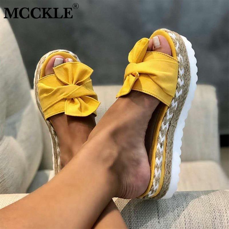 Sandalias deslizante para mujeres MCCKLE, sandalias de verano con lazo, zapatillas con lazo, suelas gruesas, plataforma plana, zapatos de playa florales para mujeres, chanclas