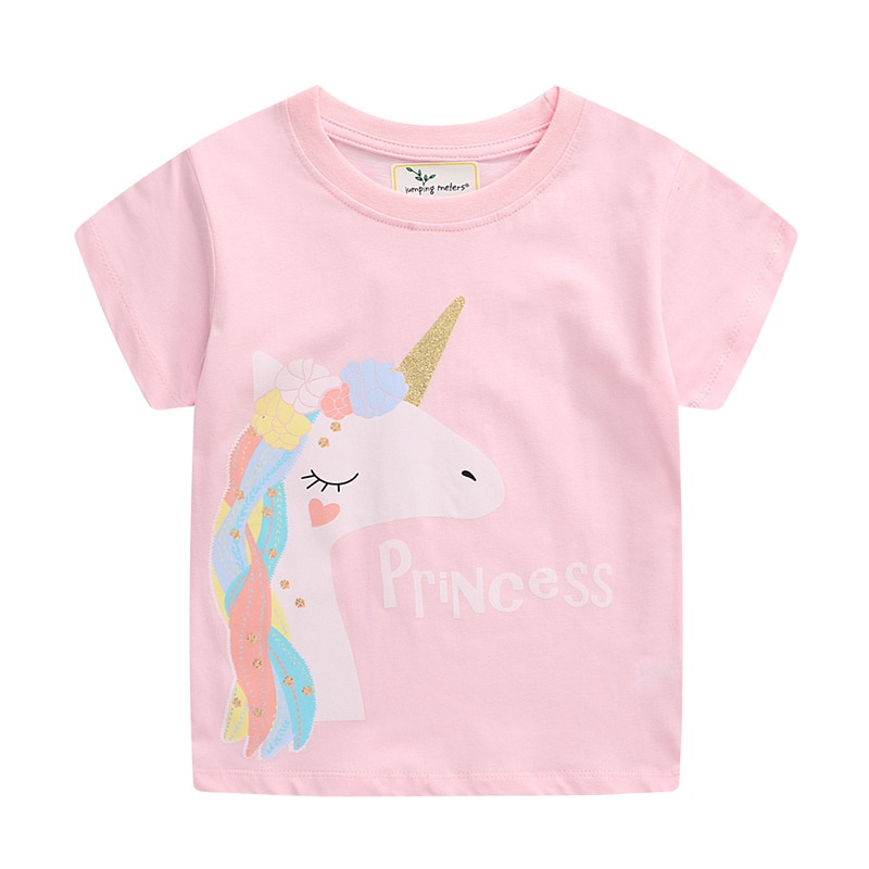 Новые летние футболки с коротким рукавом для девочек, детская хлопковая одежда, модные детские футболки с единорогом для девочек