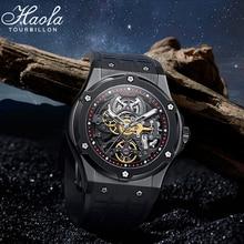 HAOFA luxury watch men watch sapphire waterproof hollow movement black rubber strap stainless steel
