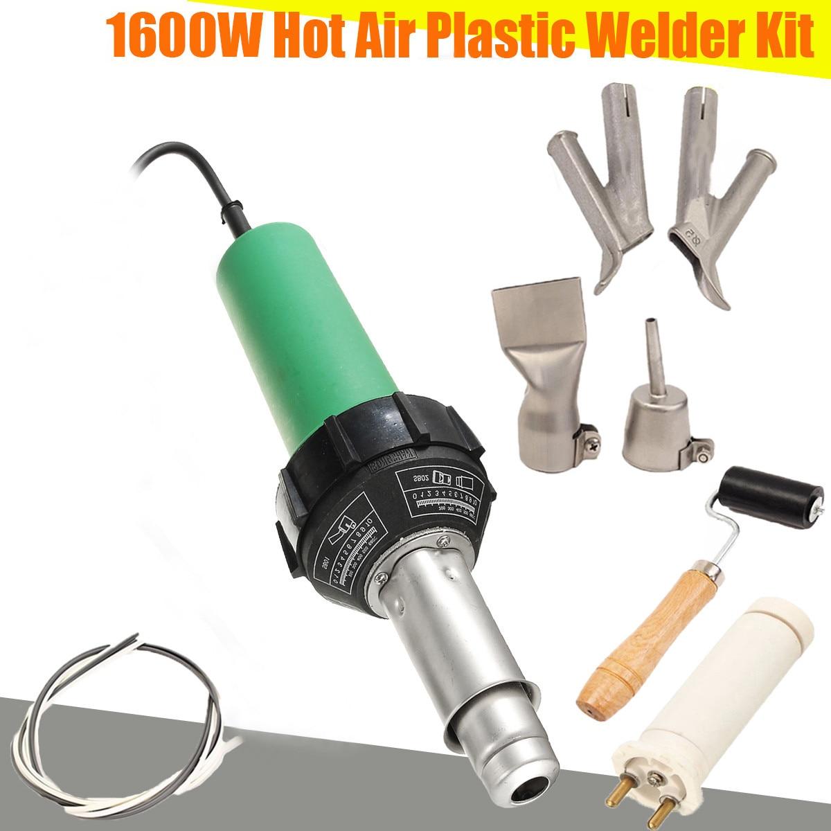 220V 1600W 3000Pa البلاستيك المتكاملة لحام الهواء الساخن لحام الشعلة G الامم المتحدة التدفئة النواة مجموعة + 2 قطعة سرعة فوهة + الأسطوانة