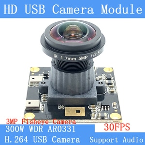 Industry fisheye camera 3MP 1080P Full HD OTG UVC Webcam H.264 Wide Dynamic 30FPS Wide-angle USB Camera Module Support audio