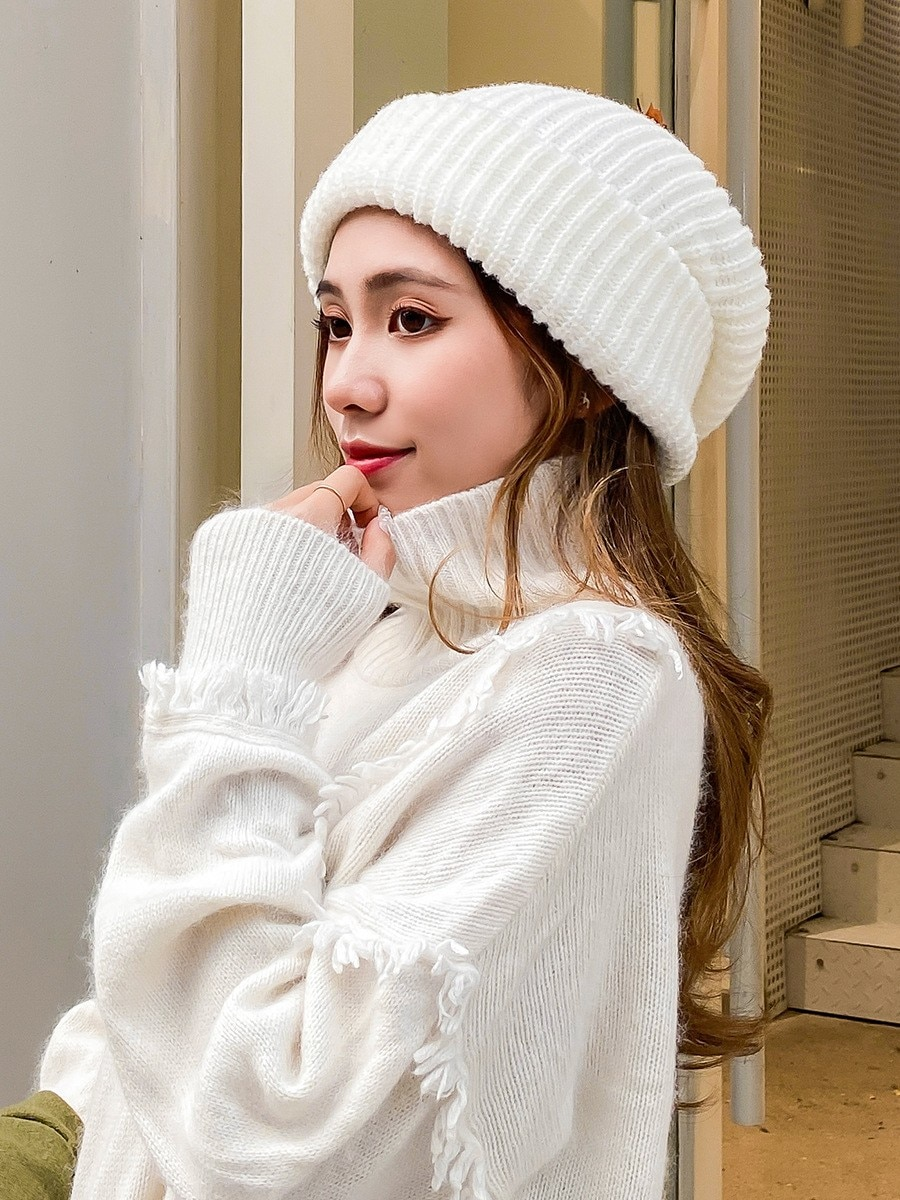 YQYXCY Women's Hat Winter Knitted Beanie Men Unisex Solid Warm Ear Protect Wide Brim Bonnet Baggy Cap Gorro Casual Outdoor