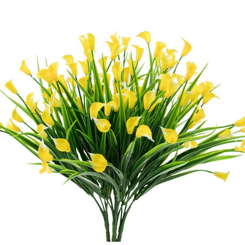 ¡Promoción! 4 Uds. Flores artificiales al aire libre amarillo cala lirio plantas falsas Faux Shrubs plástico decoración verde