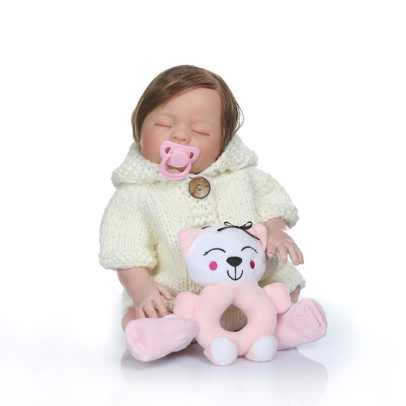 NPKCOLLECTION 50CM volle körper silikon reborn baby puppe Bebe reborn boneca mädchen hand malen rot haut verwurzelt haar bad spielzeug geschenk