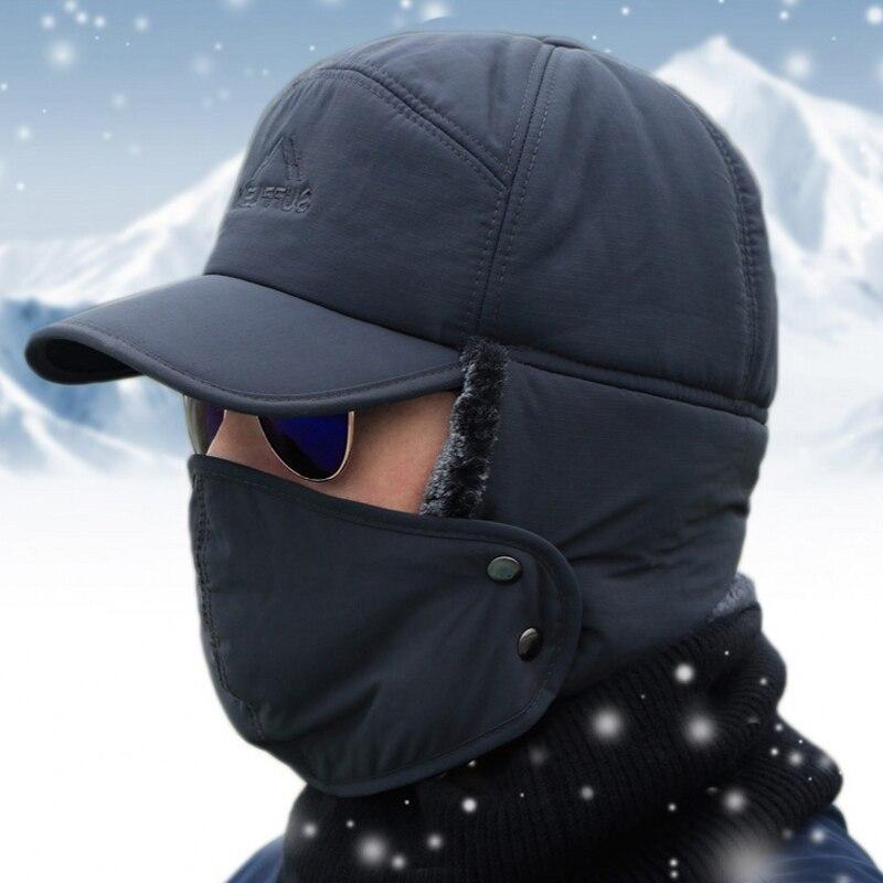 Winter Fur Warm Windproof Hat Men Women Lei Feng Cap Bomber Faux Fur Ear Flap Cap Black Ski Trooper