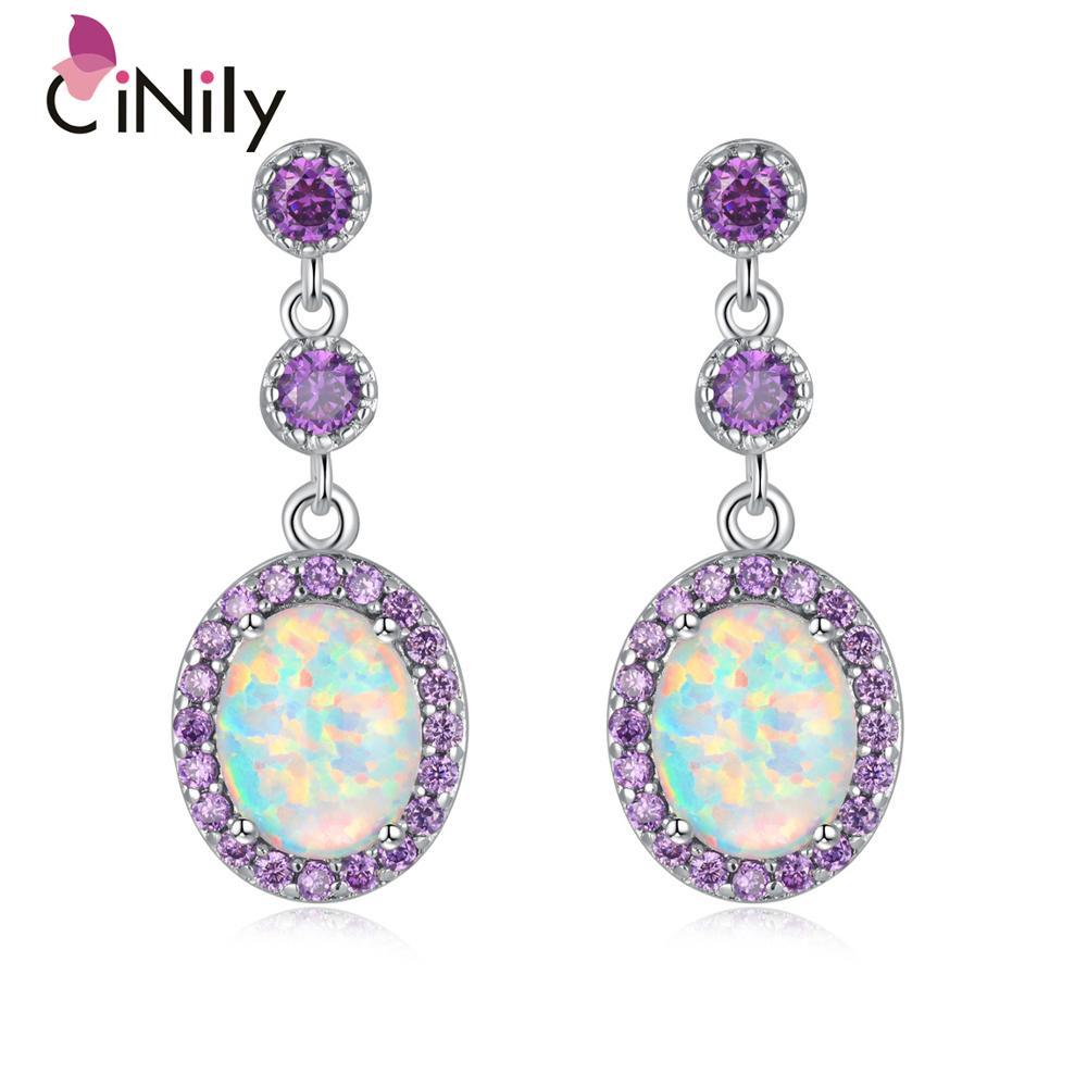 Cinily grande fogo branco opala oval pedra brincos banhado a prata violeta lilás roxo zircão cristal vintage festa jóias feminino