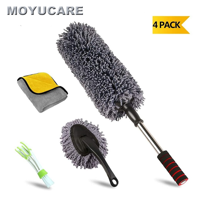 1pc microfiber telescoping car body duster wax dust mop cleaning brush cotton nanofiber car microfiber dust grey brush 13 5x40cm 4pcs Car Duster Microfiber Cleaning Brush With Extendable Handle Multipurpose Dust Removal For Exterior Interior Home Cleaning