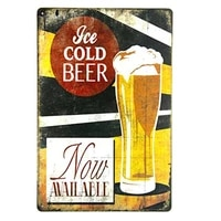 metal tin sign ice cold beer now available pub vintage retro poster cafe art