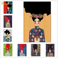 Toile dart mural de fille fleur de princesse a la mode  affiche nordique pour femmes  decor de maison  images murales pour salon sans cadre