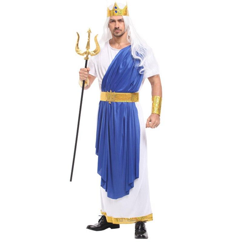 Sea King Poseidon Costume Men Halloween Olympus Gods Zeus Cosplay Long Robe Festival Parade Carnival Masquerade Masked Party