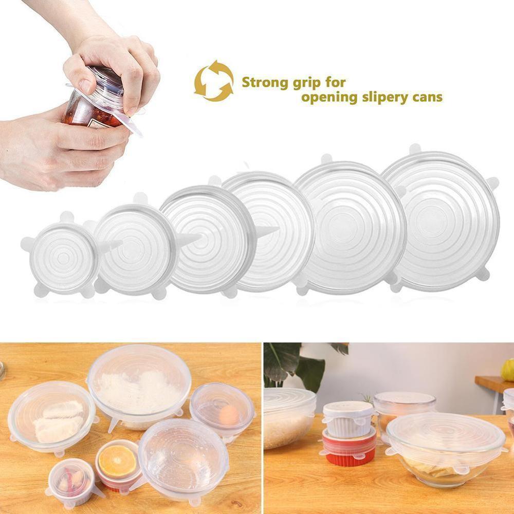 Funda para tapa elástica de silicona Universal 4/6 Uds., recipiente para envolver alimentos, tapa de silicona, bandeja para cocinar, utensilios frescos