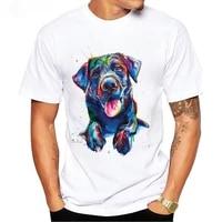 summer casual fashion men t shirt black lab dog art t shirt cute labrador retriever lovers design boy tees white short sleeve