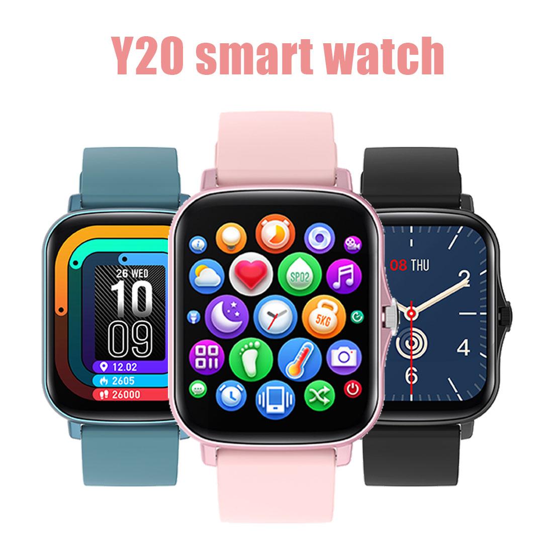 Função de Botão Nova Relógio Inteligente 1.7 Grande Tela Rotativo Pedômetro Freqüência Cardíaca Pressão Arterial Mensagem 2021 Y20