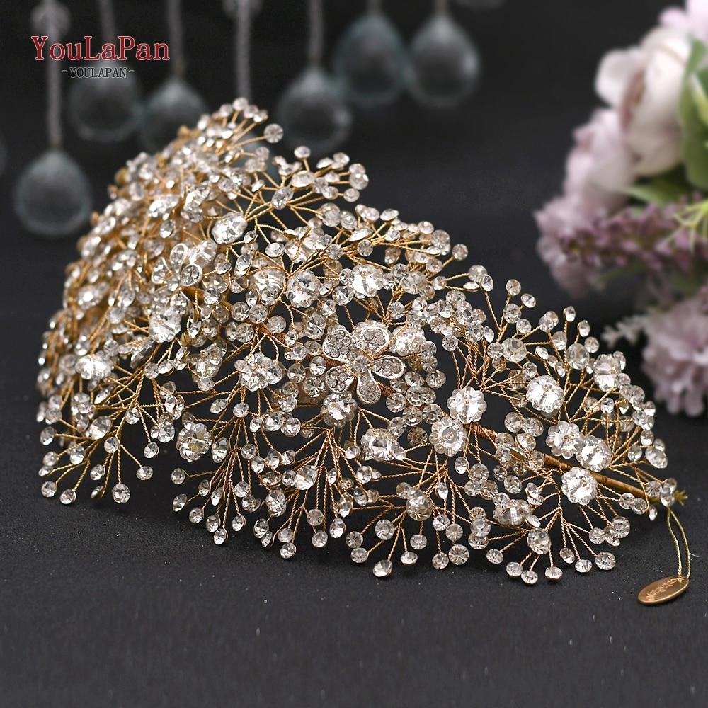 Aksesorë flokësh nusë të artë magjepsës për bizhuteri kristali - Aksesorë dasme - Foto 3