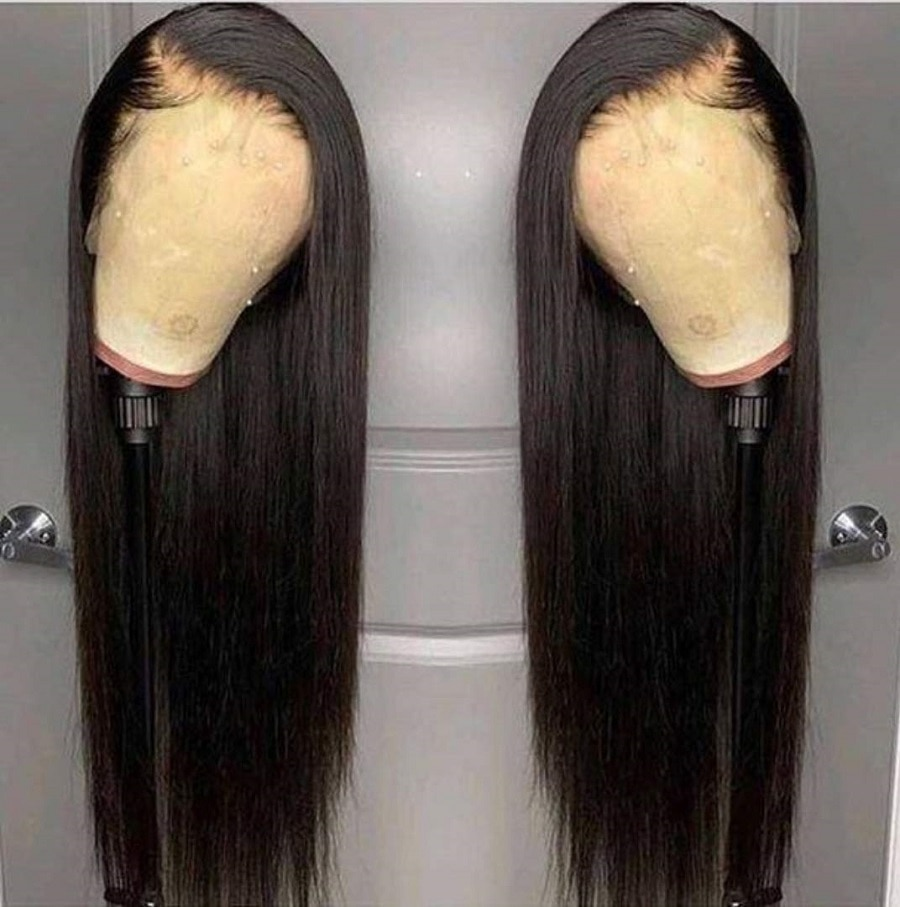 Heat Resistant Hair Black Color Synthetic Lace Front Wig For Black Women Middle Part Hand Tied Long Silky Straight Lace Wig