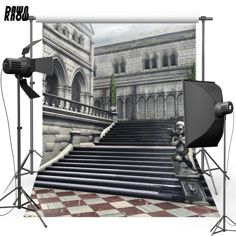DAWNKNOW Building Vinyl Photography Background For Family Step New Fabric Polyester Backdrop For Wedding Photo Studio G628