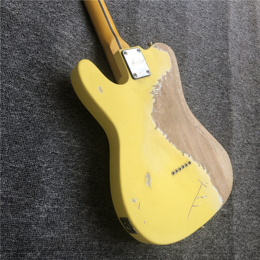 Stock, hand limited edition relic electric guitar, maple neck yellow, real photos, free shipping enlarge