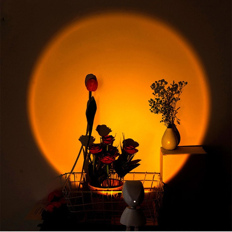 Led الطابق ضوء USB مشحونة غروب الشمس الإسقاط غرفة المعيشة الوقوف ضوء غرفة نوم جو مصباح أرضي روبوت قوس قزح تدوير