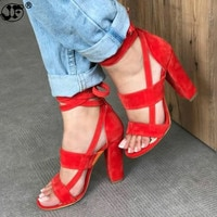 Summer Shoes Woman 2019 Women's Sandals High Heel Gladiator Cross-tied Lace-Up Casual Ankle Strap Flock Sandal sdty
