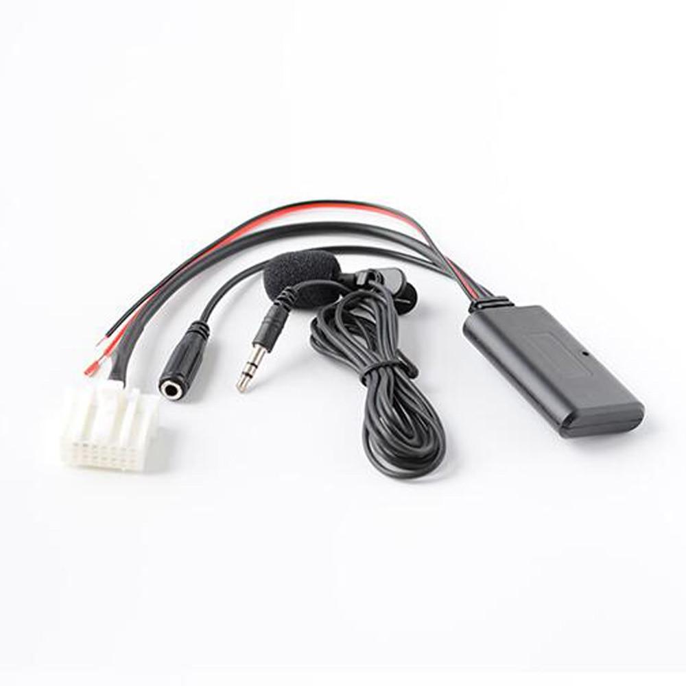 Biurlink rádio estéreo do carro bluetooth de áudio estender fio microfone chamada telefone mãos livres adaptador microfone para mazda 2 3 5 6 8