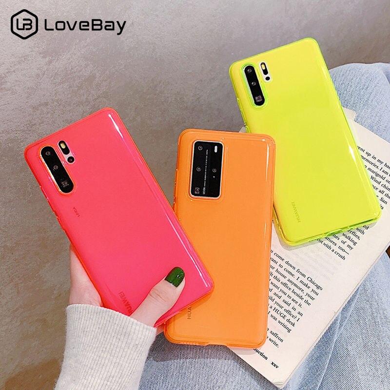 Lovebay caso de telefone para huawei p40 pro p30 p20 lite companheiro 30 pro claro sólido fluorescente para huawei nova 4 5 6 tpu macio capa