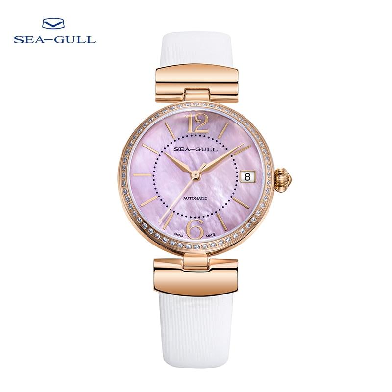Seagull watch ladies automatic mechanical watch fashion diamond watch calendar belt waterproof watch D713.633L