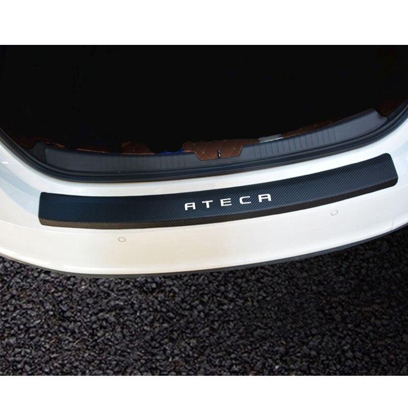 Para seat ateca estilo de fibra carbono couro do plutônio após guarda choques traseiro tronco guarda placa acessórios do carro
