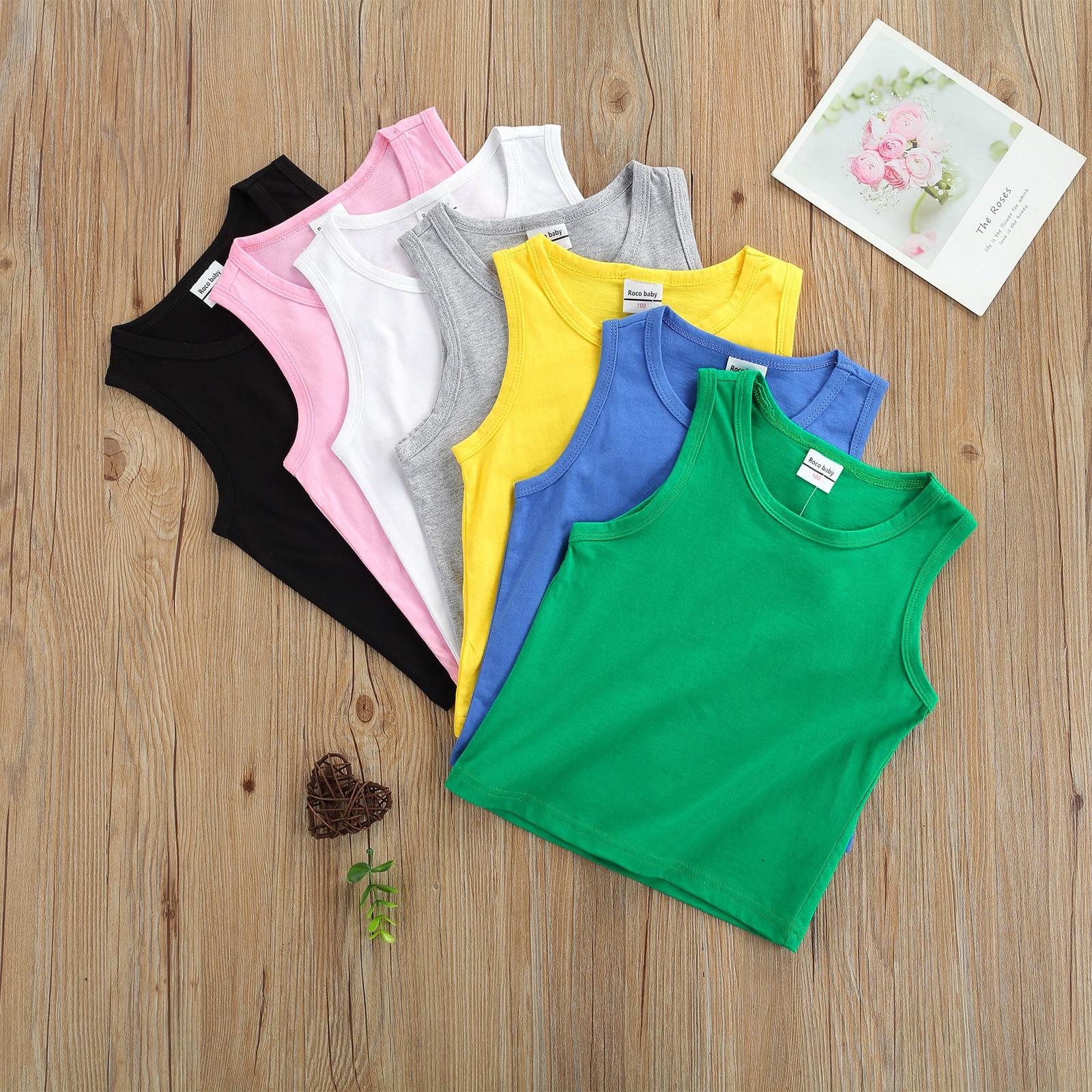 Детские модные однотонные майки OPPERIAYA для малышей, Летние повседневные майки без рукавов с круглым вырезом для маленьких мальчиков и девоче...