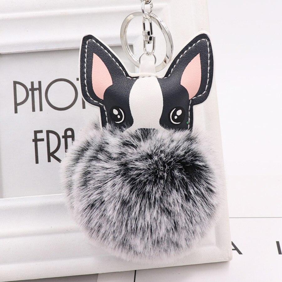 Chaveiro de pelo de coelho falso, chaveiro com pompom de cão, porte clef fofo de couro, llaveros chaveiro chaveiro chaveiro chaveiro chaveiro pom