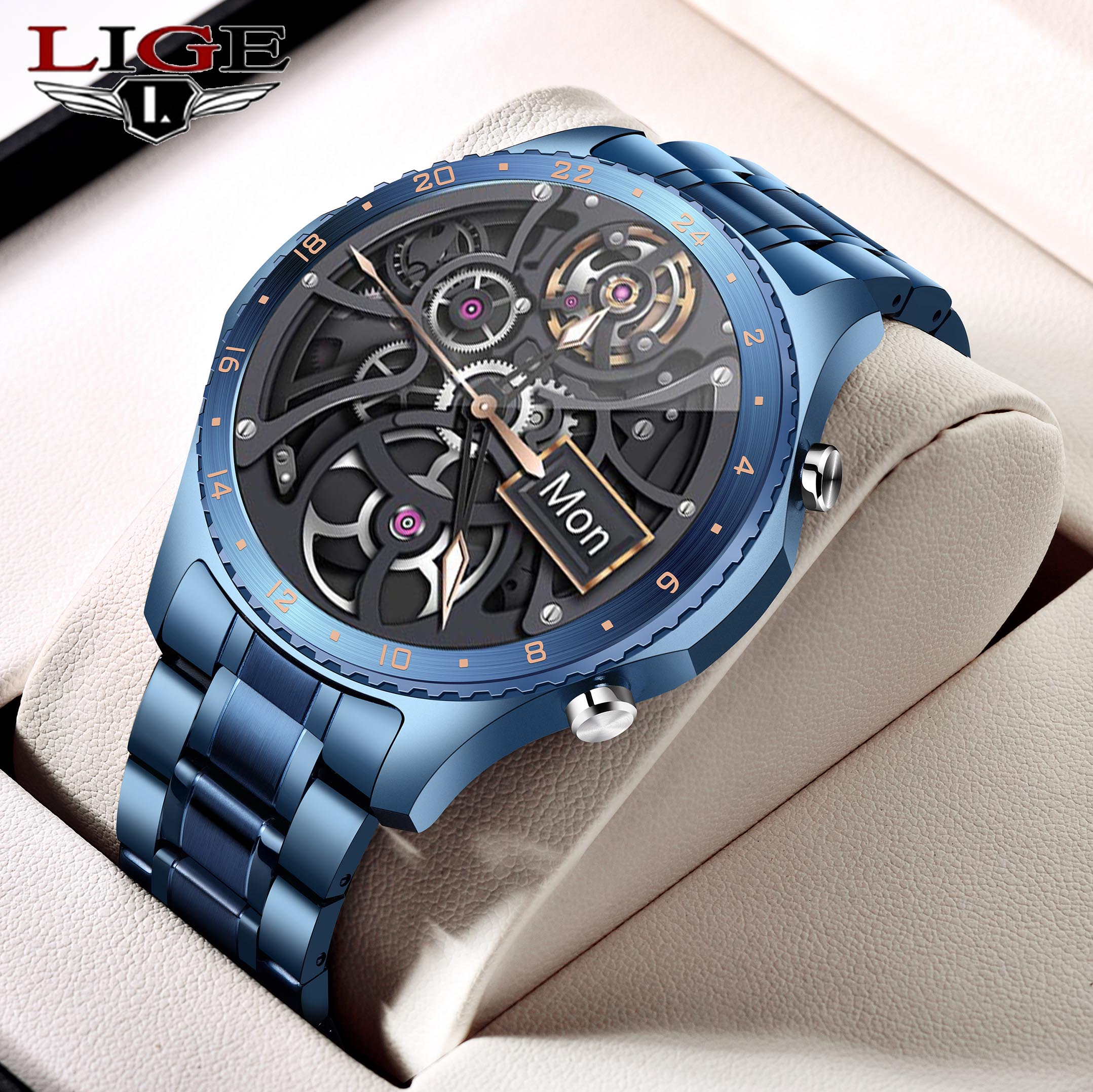 LIGE 2021 New Smart Watch Men Full Touch Screen Sports Fitness Watch Waterproof Bluetooth Call For A