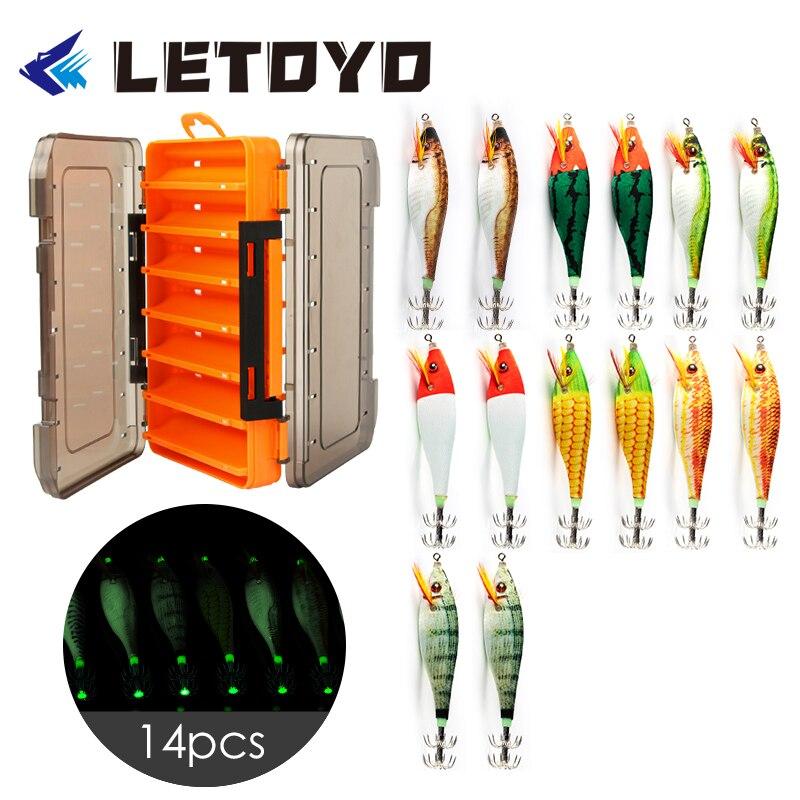 LETOYO 14 قطعة/صندوق أكثر أرخص جودة 10g الحبار إغراء مع صندوق صيد مضيئة الخشب الروبيان الرقص هوك الطعم الاصطناعي صندوق بلاستيكي EGI