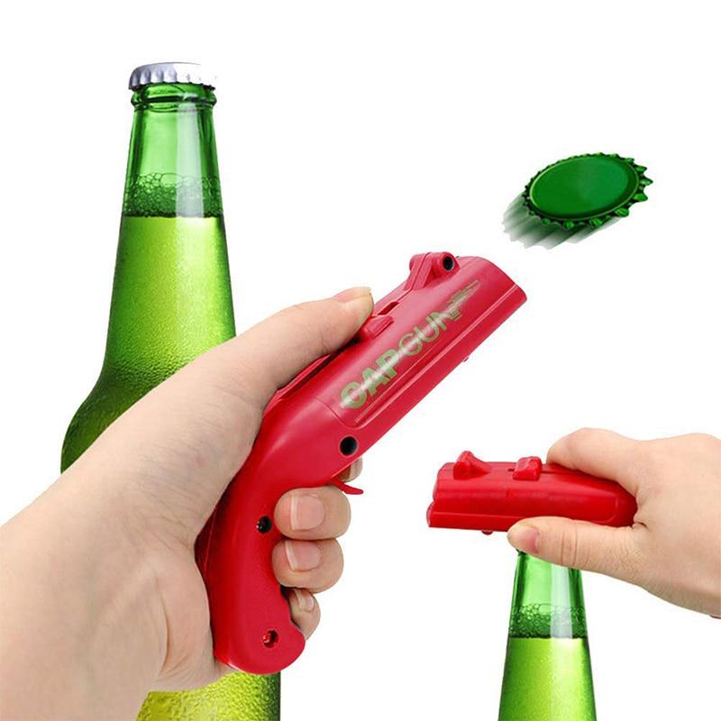 1PCS Cap Gun Portable Can Opener Beer Opener Cap Launcher Capgun Bottle Opener Kitchen Gadgets and Accessories Kitchen Tools