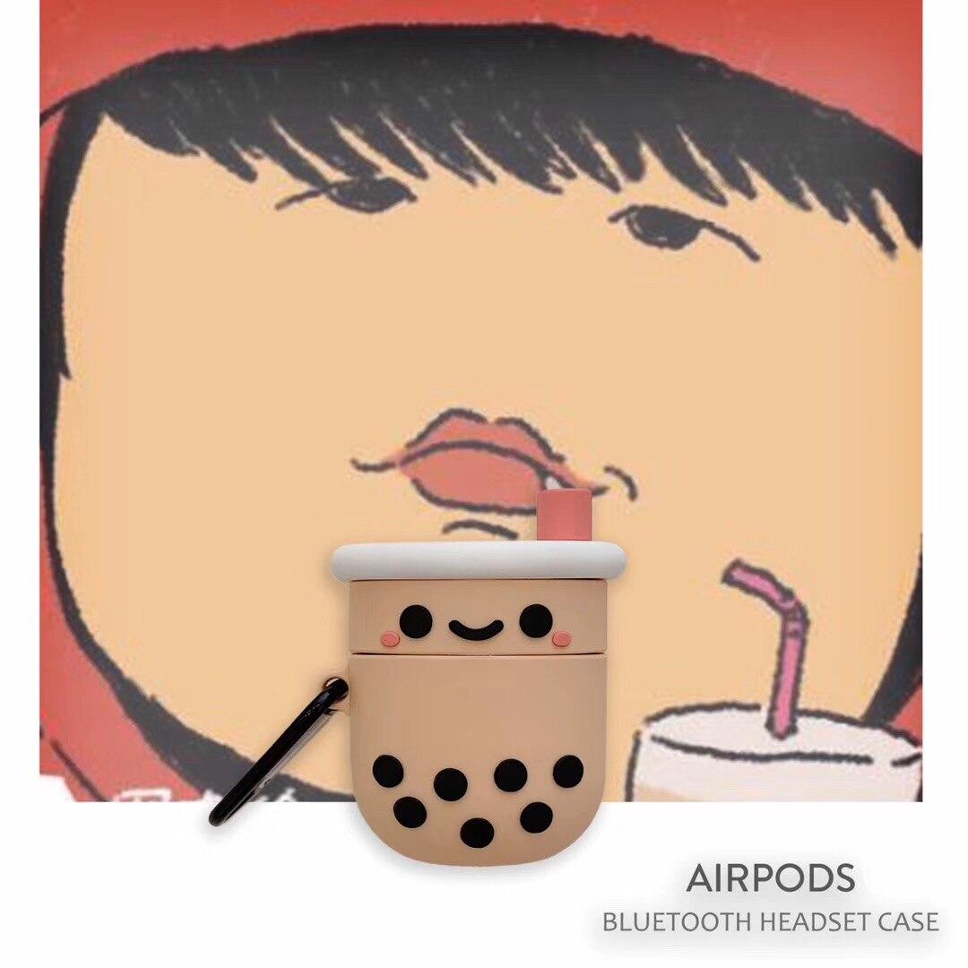 3D de dibujos animados lindo té de la leche del auricular protector de auriculares periférica adecuado para los Airpods 1 2 i14 i11 i12 i7 i9 i18 i30 i20 i90 PRO