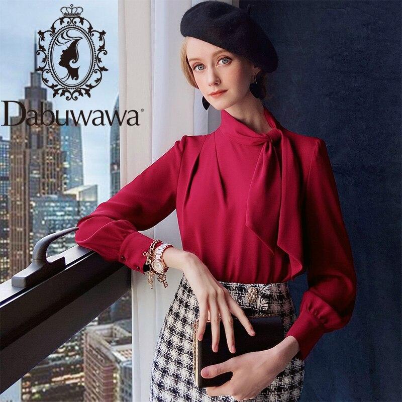 Dabuwawa outono vintage borgonha laço pescoço blusa sólida senhora do escritório de manga longa camisas básicas mulheres magro ajuste dt1cst014
