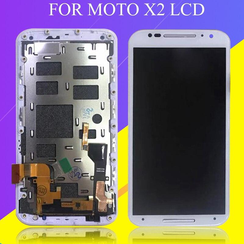 Catteny для MotoRola Moto X2 Дисплей 5,2 дюймов для Moto X 2nd Gen Xt1092 Lcd кодирующий преобразователь сенсорного экрана в сборе с рамкой